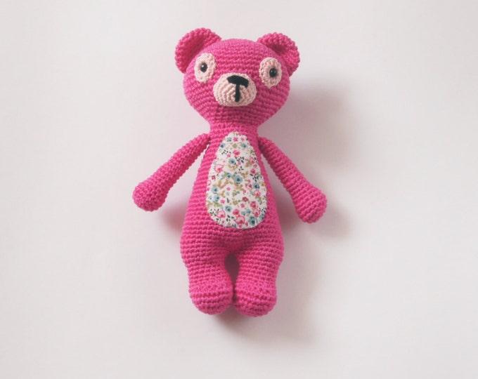 Crochet Teddy Bear Amigurumi StuffedToy Present Gift for Boy Girl Baby Shower Pink Handmade