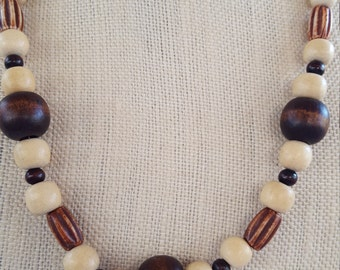 Dark and light wooden bead necklace