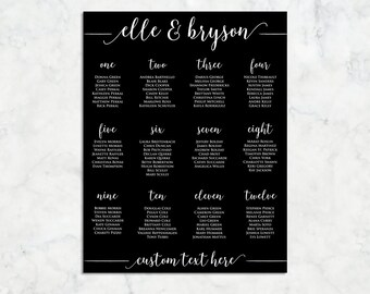 Black and White Wedding Calligraphy Seating Chart Printable / Custom Personalized Printable Wedding Seating Chart / Custom Sizes & Colors