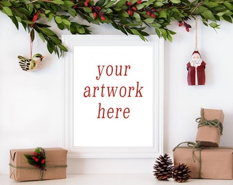 8x10 Vertical Christmas Frame Mockup for Your Artwork | Styled Stock Photography | Instant Download