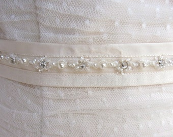 bridal sash crystal and pearls