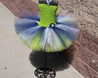 Seahawks football tutu, Seattle Seahawks NFL girls tutu dress, navy blue and lime green tutu, birthday girl outfit dress, football tutu