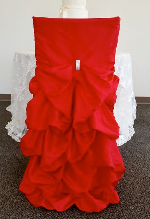 Red Wedding Chair Covers Ruffled Wedding Chair Covers