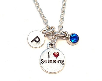 I love Swimming Necklace, Swimming Charm, Swimming Pendant, Swimming Jewelry, Swimmer Necklace, Swim Team Necklace, Life Guard Necklace