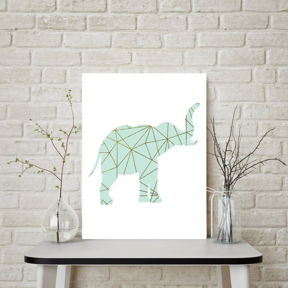 Gold Elephant Wall Decor : Elephant wall art gold decor mint and by