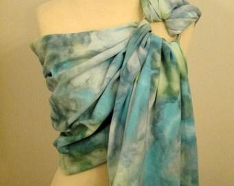 Broken twill ring sling -100% organic cotton- handyed- baby wrap - blue, green, aqua, yellow