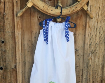 Sundress with Beach Embroidery on Skirt