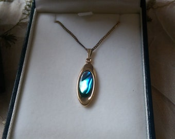 Ariki Paua Shell Necklace 22 carat Gold Plate