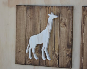"Giraffe Wood Safari Animal Plaque Cutout 13"""