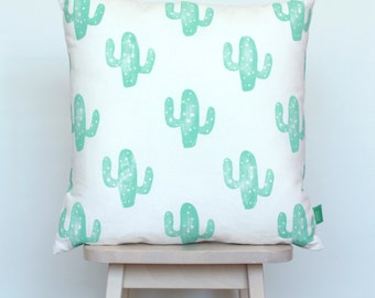 Cushion cover with mint green cacti, hand-stamped