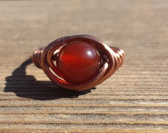WIRE WRAPPED RING Carnelian  in Antiqued Copper Handmade