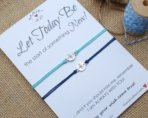 First Day of School Bracelet Anxiety Separation Bracelet New Start Wishing Bracelet Silver Compass Charm Make a Wish Bracelet Kids Bracelets