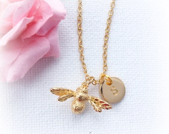 Gold bumble bee Necklace, gold bee necklace, Gold bee, bee jewelry, bee, Sisters Jewellery, Gift Idea, Initials, honey bee jewelry, GFBBIN01