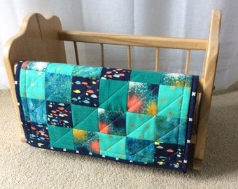 Doll Quilt / Doll Blanket / Mini Quilt / Shades of Blue and Turquoise Patchwork Quilt
