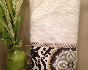 Hand Towel, ONE, Black Cream, Suzani, Medallion, Polka Dot, White Cotton Towel,  Guest Towel, Designer Towel, Black, Bathroom Towel
