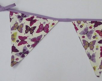 Purple Butterfly Bunting - with lilac and green, girls Room Decoration,