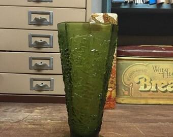 Vintage Green Grape Glass Vase Octogon Shape