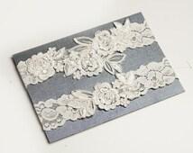 Light Ivory Beaded Lace Wedding Garter Set, Ivory Lace Garter Set, Toss Garter, Keepsake Garter, Customizable Handmade-GT024