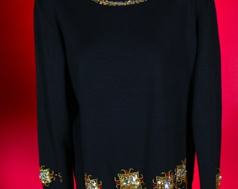 Bob Mackie Woman's Black Sweater with Gold Embellishments from the 1980s Size Small Wool/Acrylic Blend