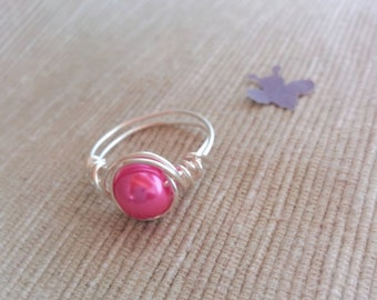 Silver Wire Ring,Wire Bead Ring,Wire Rings,Handmade Ring,Custom Bright Pink Ring,Wire Ring,Silver Swirl Ring,Wire Wrapped Ring,Bohemian Ring