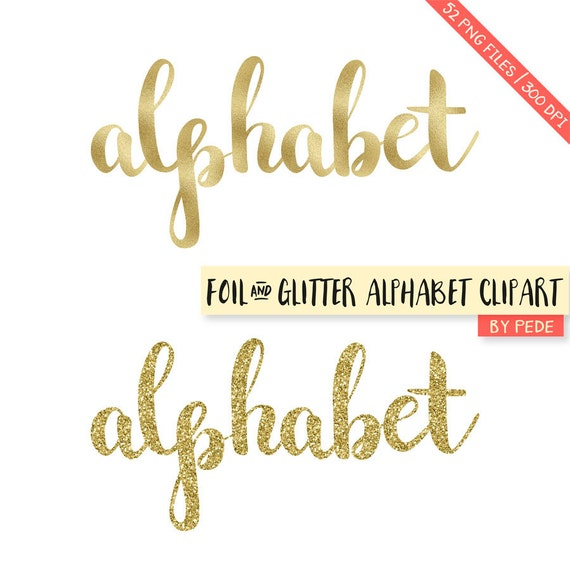 Alphabet Foil Silvers: BUY 3 FOR 8 USD Gold Glitter And Foil Alphabet Clipart