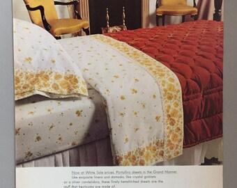 1969 Cannon Royal Family Print Ad for Portofino Sheets