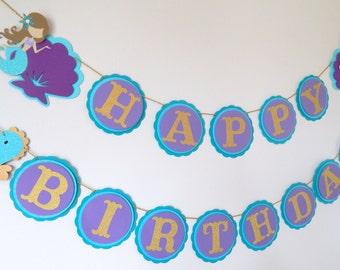 Under the Sea Mermaid Glitter Birthday Banner, Teal and Purple Mermaid Banner, Happy Birthday Decoration, First Birthday