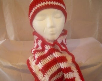 Red and white crochet hat and scarf set