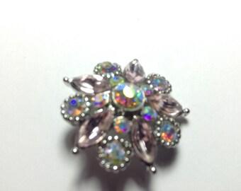 Beautiful PINK STONES FLOWER snap button with aurora borealis stones