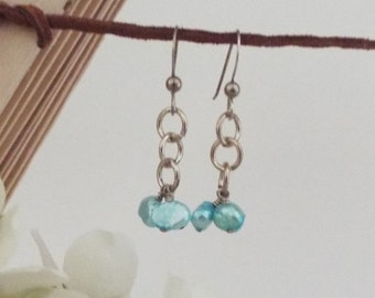 Blue Freshwater Pearl Cluster Earrings | Akvamarin Collection | 1101