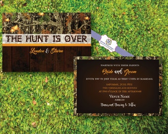 The Hunt Is Over two-sided Wedding Invitations Camo Orange Wood Grain