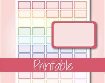 Pastel Bordered Half Boxes | Printable Planner Stickers for Erin Condren Planners - Instant Download