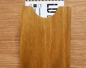 Oak Wood Business Card Holder