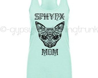 Sphynx Cat Tank Top - Cat Shirts - Mint Sphynx Cat Top - Cat Clothing - Boho Chic - Sphynx Cat Clothes - Personalized Pet Clothing