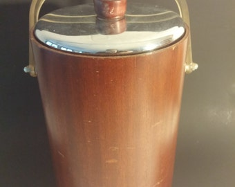 """Vintage, mid-Century Modern """"Thermos"""" Ice Bucket With Glass Liner"""