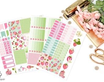 VERTICAL Sweet Strawberries Sticker Set for Erin Condren Planners