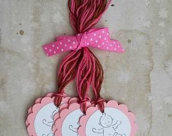 Baby Girl Hang Tags, Set of 6 (Pink)