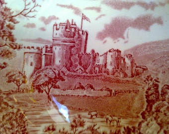 vintage small concave plate johnson bros castle story made in england vintage