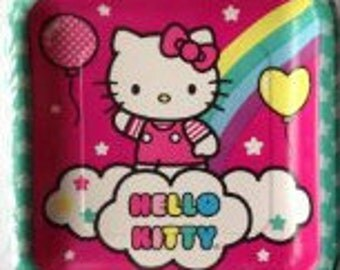 Hello Kitty ''Balloon Rainbow'' Lunch Square Paper Plates 8ct