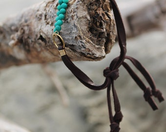 Turquoise Beaded Stack Bracelet //  Friendship Bracelet // Brown Deerskin Lace // made in Charleston, SC
