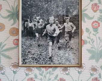 BOYS Vintage Original Photography, One-Of-A-Kind Picture/Art in Wooden Frame