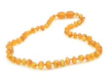 Raw Amber Teething Necklace, 28-36 cm (11-14.17 inches), Honey Color, Made from Raw Baroque Style Beads, Screw Clasp, B5-4BU