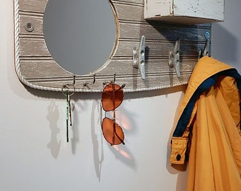 mirror key holder for wall. entryway mirror valet - coat hook boat cleats key rack mail holder organizer for wall c