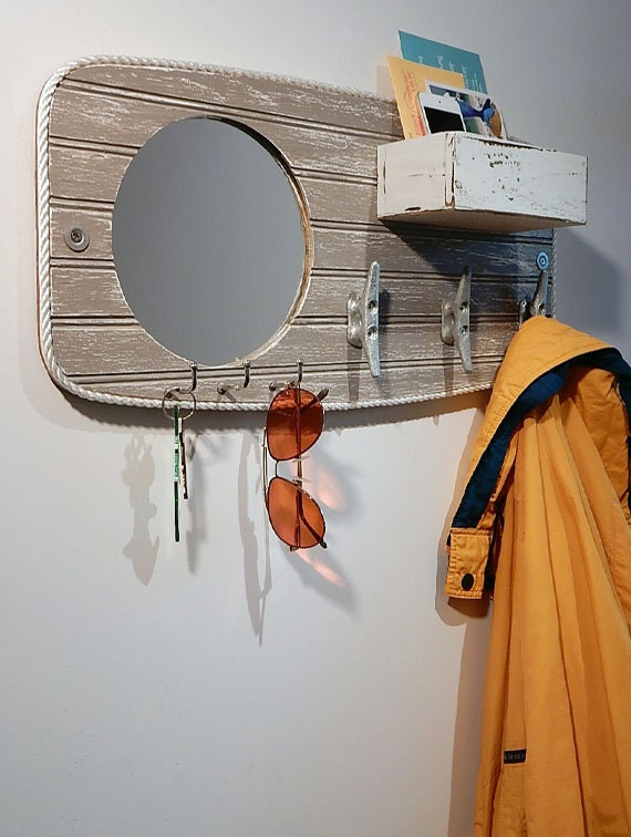 Entryway mirror valet coat hook boat cleats key rack Wall mount entryway organizer mirror hallway coat rack key cabinet