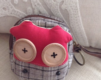 Funny Red MooMoo Cow Coin Purse with Button Eyes