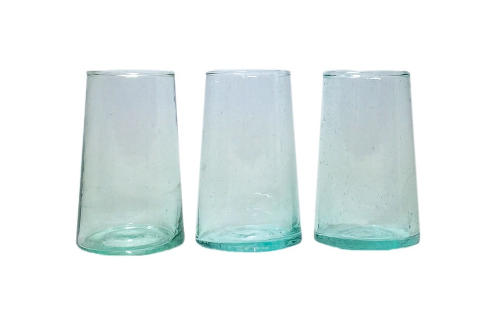 Moroccan stemless hand blown wine glasses tall set of 6 - Hand blown stemless wine glasses ...