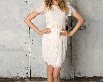 Short white lace wedding dress, Nadine