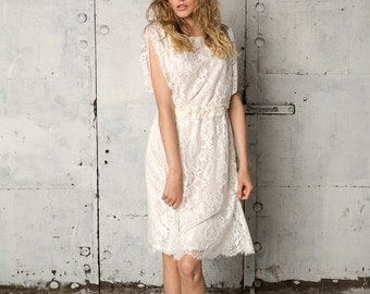 Bohemian short white lace dress with over sized sleeves, Stella