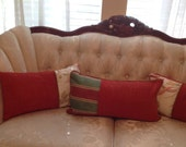 Pillow covers lumbar Persimmon  color set of three with contrasting color ends