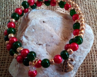 Christmas memory wire wrap bracelet for older child or teenager